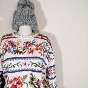 Vintage Floral Babydoll Oversized Chunky Knit